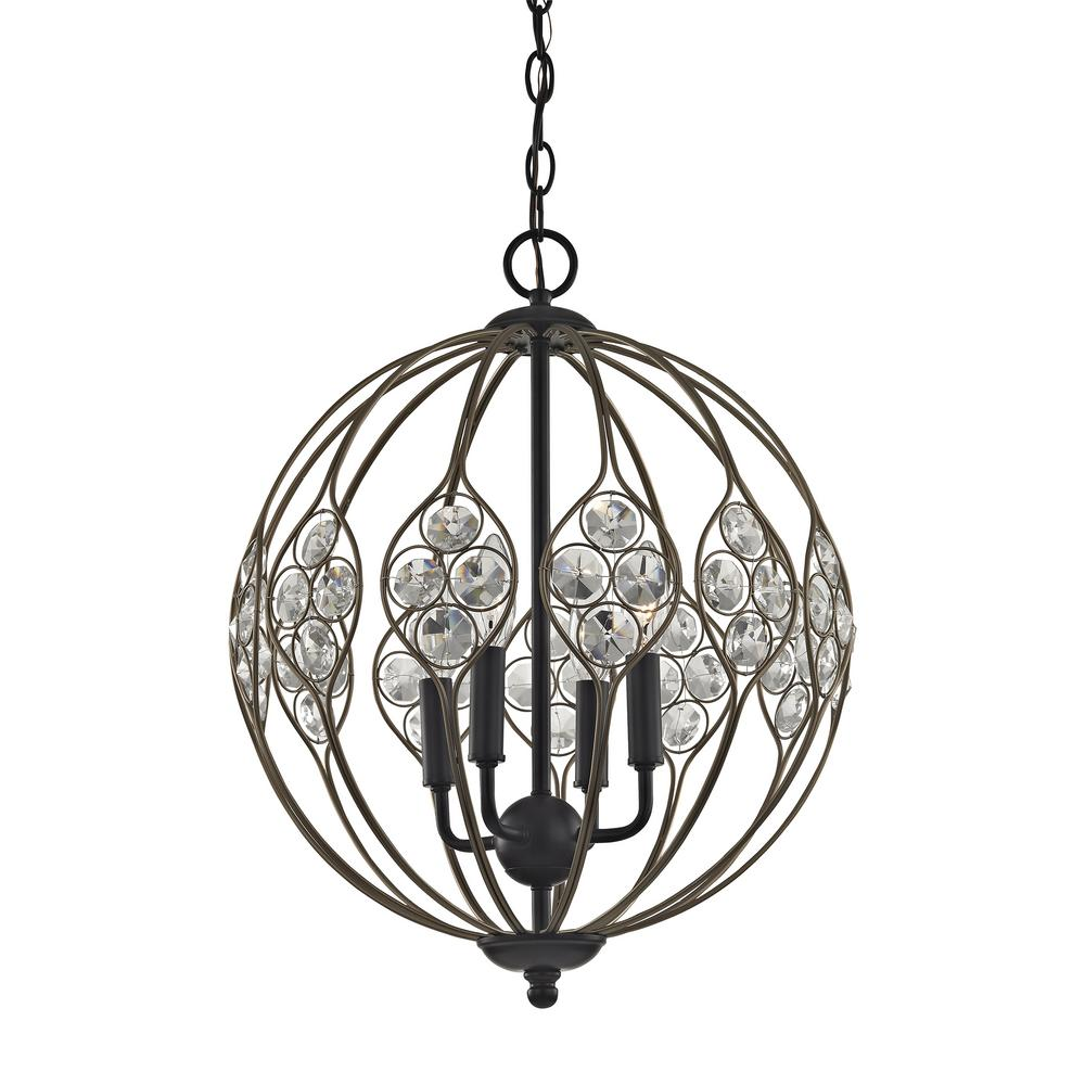 An Lighting Crystal Web 4 Light Matte Black With Bronze Gold Highlights And Clear