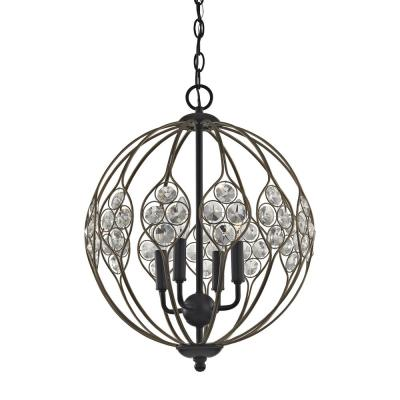 Crystal Web 4-Light Matte Black with Bronze Gold Highlights And Clear Crystal Chandelier
