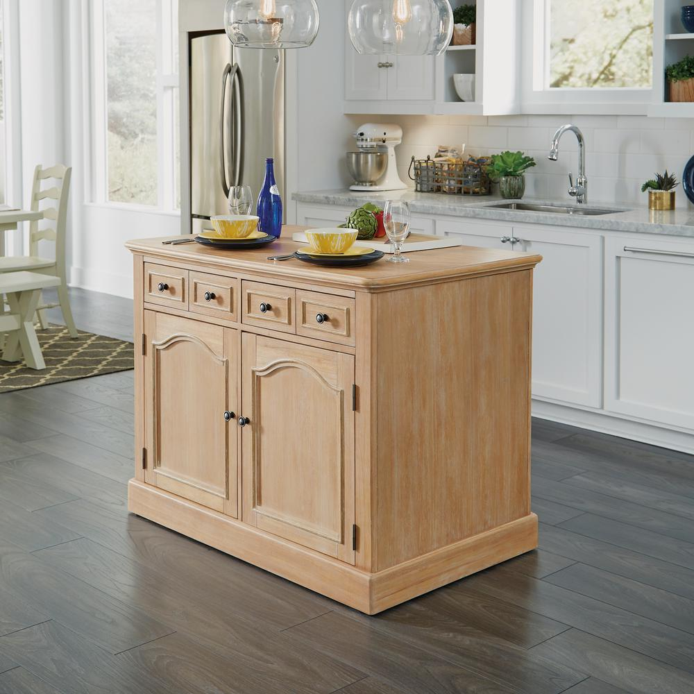 Home Styles Cambridge White Washed Natural Kitchen Island With Wood
