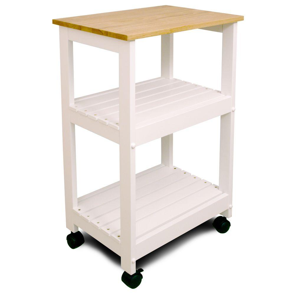 Natural Kitchen Cart With Shelf
