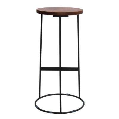 Round Iron Brown and Black Base Bar Stool with Acacia Wood Seat