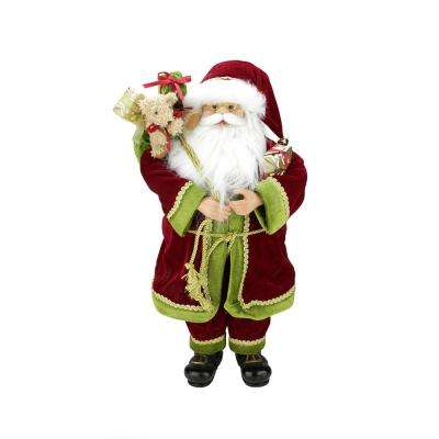 24 in. Grand Imperial Red Green and Gold Standing Santa Claus Christmas Figure with Gift Bag