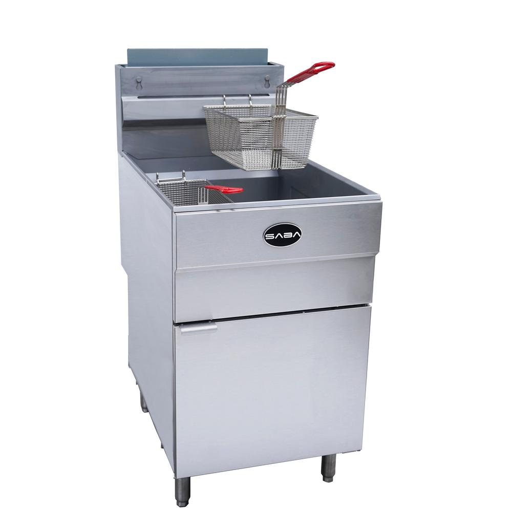 21 in. 85 lb. Capacity Liquid Propane Commercial Fryer, Silver The SABA natural gas floor fryer is engineered with high performance and efficiency. This unit has an impressive 120,000 BTU/hr and features thermostatic controls to automatically keep oil at a set temperature between 200° to 400°F. This powerful fryer is designed with durable stainless-steel which creates reliable, safe and even heat distribution throughout the unit. The fryer features a stainless-steel fryer tank and a large cold zone to prevent carbonization of food particles or debris at the bottom. Our fryers are all designed with American made Robert Shaw control systems, to guarantee the best performance. This affordable fryer is perfect to meet your daily demands to fry a variety of products. SABA carries gas fryers in 2 sizes, 45 lb. capacity and 85 lb. capacity and both sizes come in natural gas and liquid propane. Color: Stainless Steel.