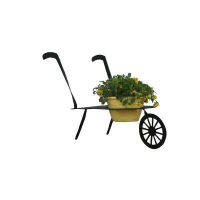 WheelBarrow Design Lawn Art 22.5 in. H x 34 in. W x 16 in. D with 8.25 in. Opening Black Metal 3D Standing Planter