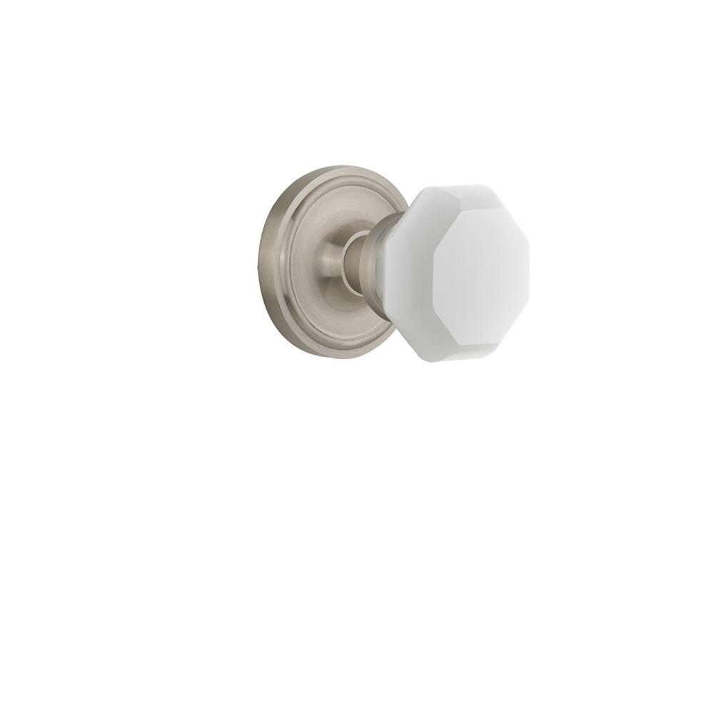 Classic Rosette 2-3/8 in. Backset Satin Nickel Privacy Bed/Bath Waldorf White Milk Glass Door Knob