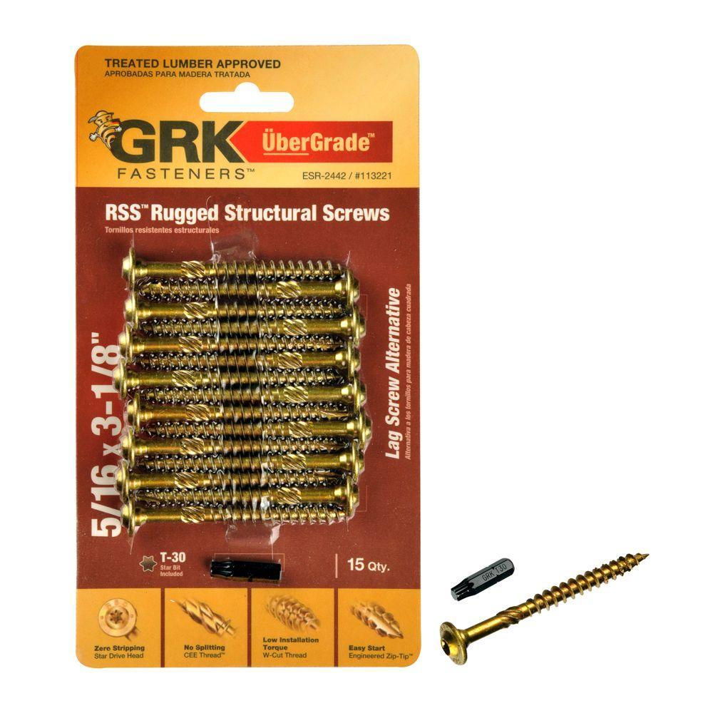5/16 in. x 3-1/8 in. Rugged Structural Screw (15-Piece per Pack)