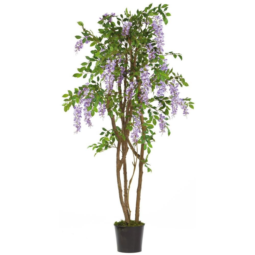 Nearly Natural 5 ft. Wisteria Silk Tree, Purple