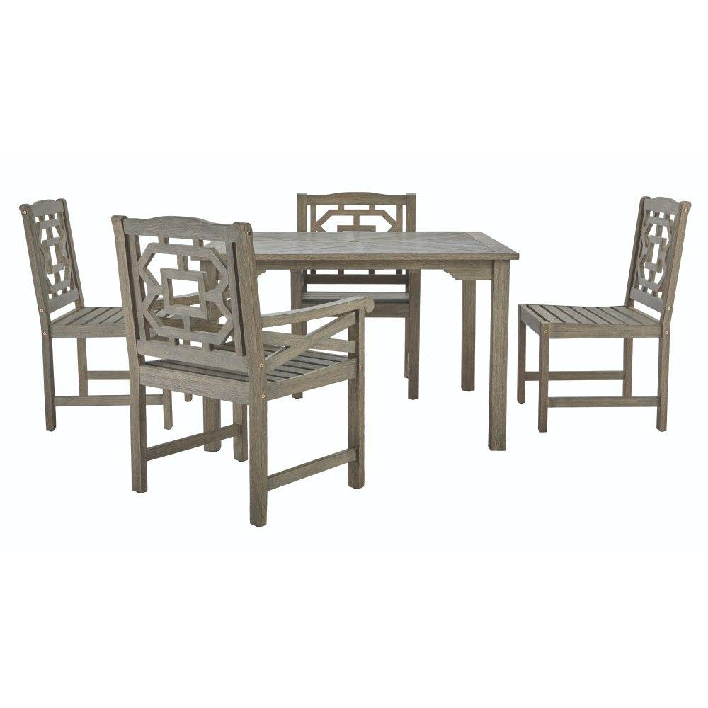 Martha Living Blue Hill 5 Piece All Weather Eucalyptus Wood Patio Dining Set