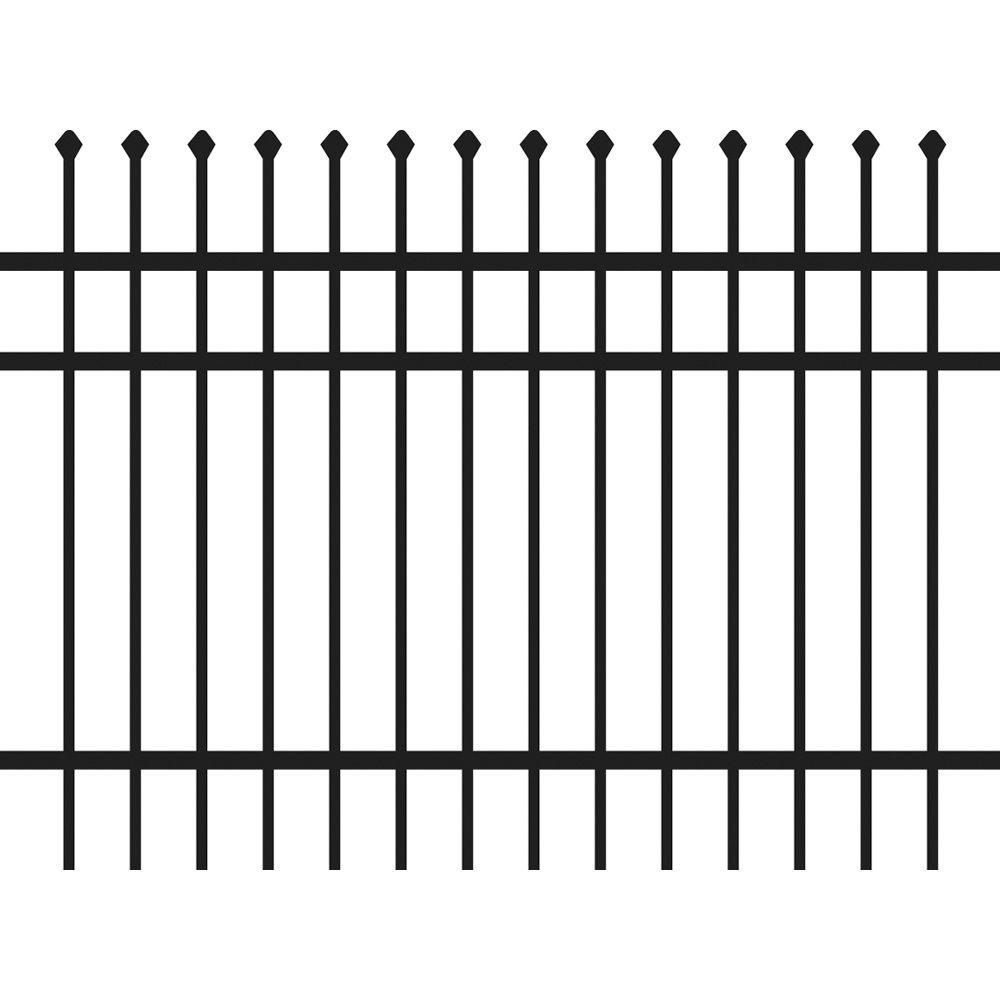 Allure Aluminum 4 ft. H x 6 ft. W Pre-Assembled Black Screwless Snap-In Aluminum Fence 3-Rail Royal Style (3-Pack)-DISCONTINUED