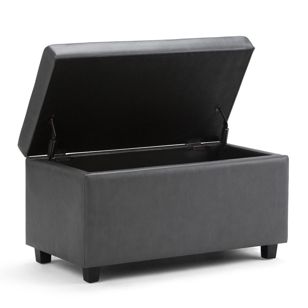 +8. Simpli Home Darcy Stone Grey PU Faux Leather Storage Ottoman