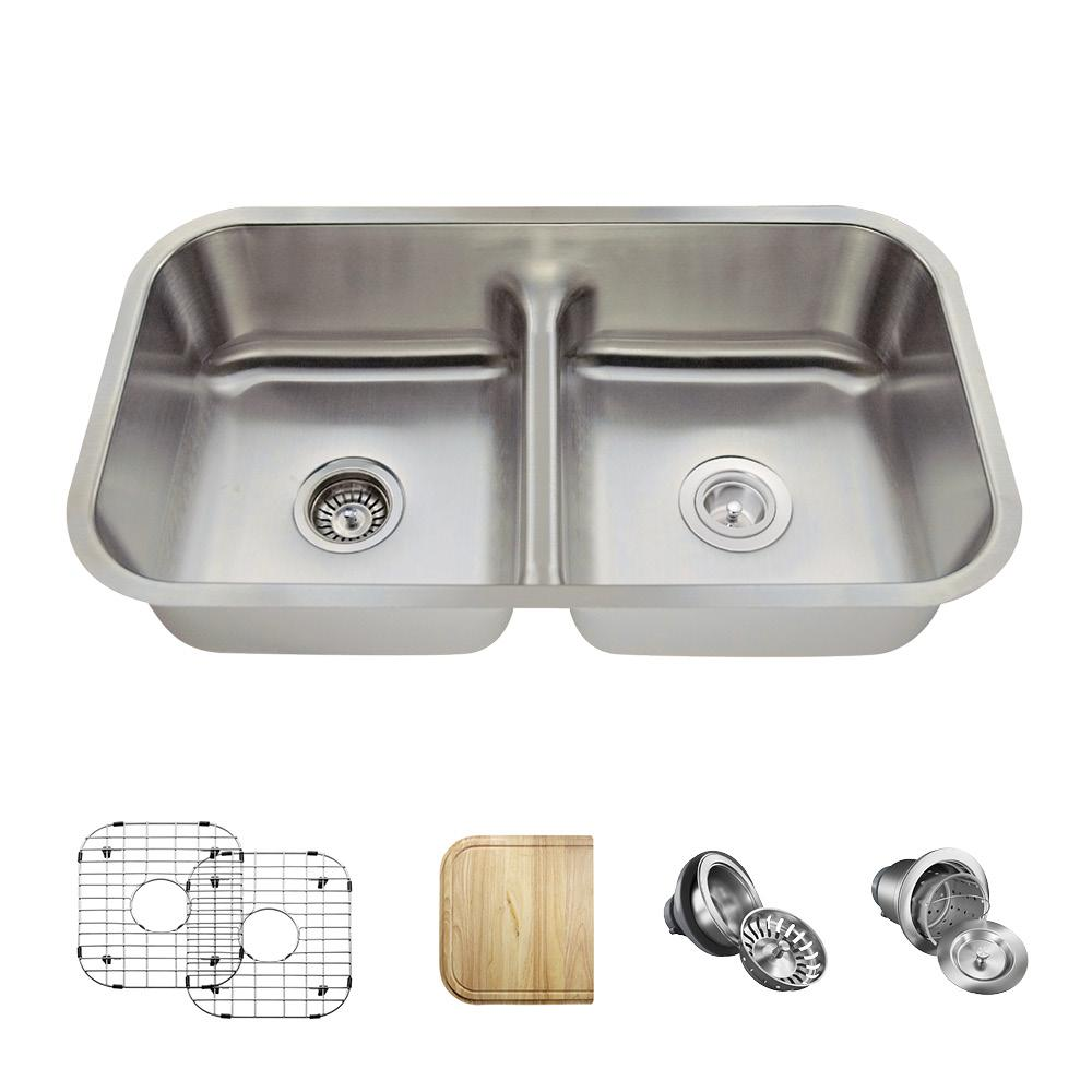All-in-One Undermount Stainless Steel 33 in. Double Bowl ...