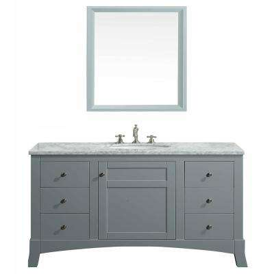 New York 42 in. W x 21.6 in. D x 32.6 in. H Vanity in Gray with Carrara Marble Vanity Top in White with White Basin