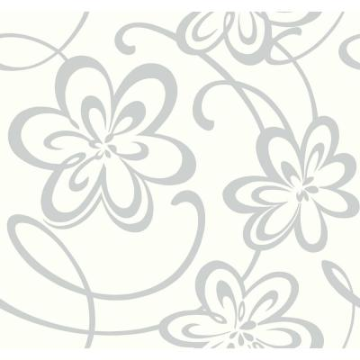 Growing Up Kids Large Floral W/Scrolls Removable Wallpaper