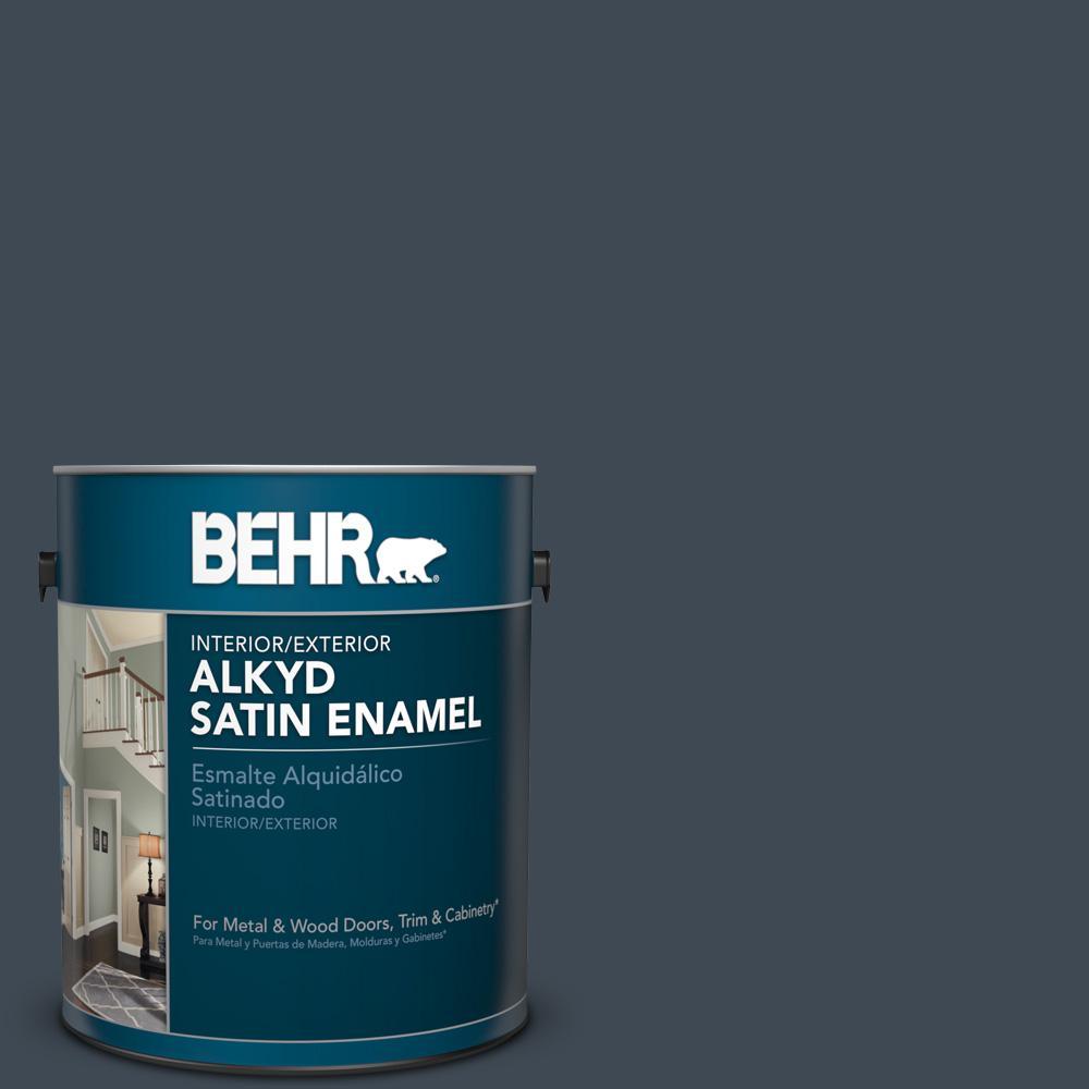 1 gal. #BXC-26 New Navy Blue Satin Enamel Alkyd Interior/Exterior Paint