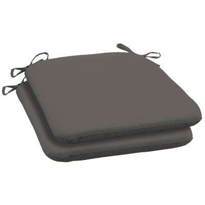 Slate Canvas Texture Square Outdoor Seat Cushion (2-Pack)