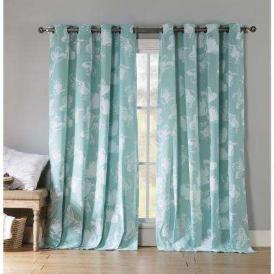 Semi-Opaque Aster 84 in. L Polycotton Grommet Panel in Teal (2-Pack)