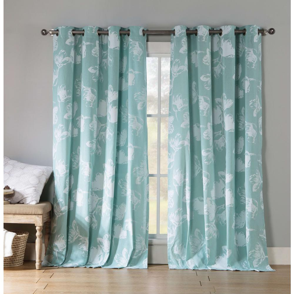 Kensie Semi-Opaque Aster 84 in. L Polycotton Grommet Panel in Teal (2-Pack)