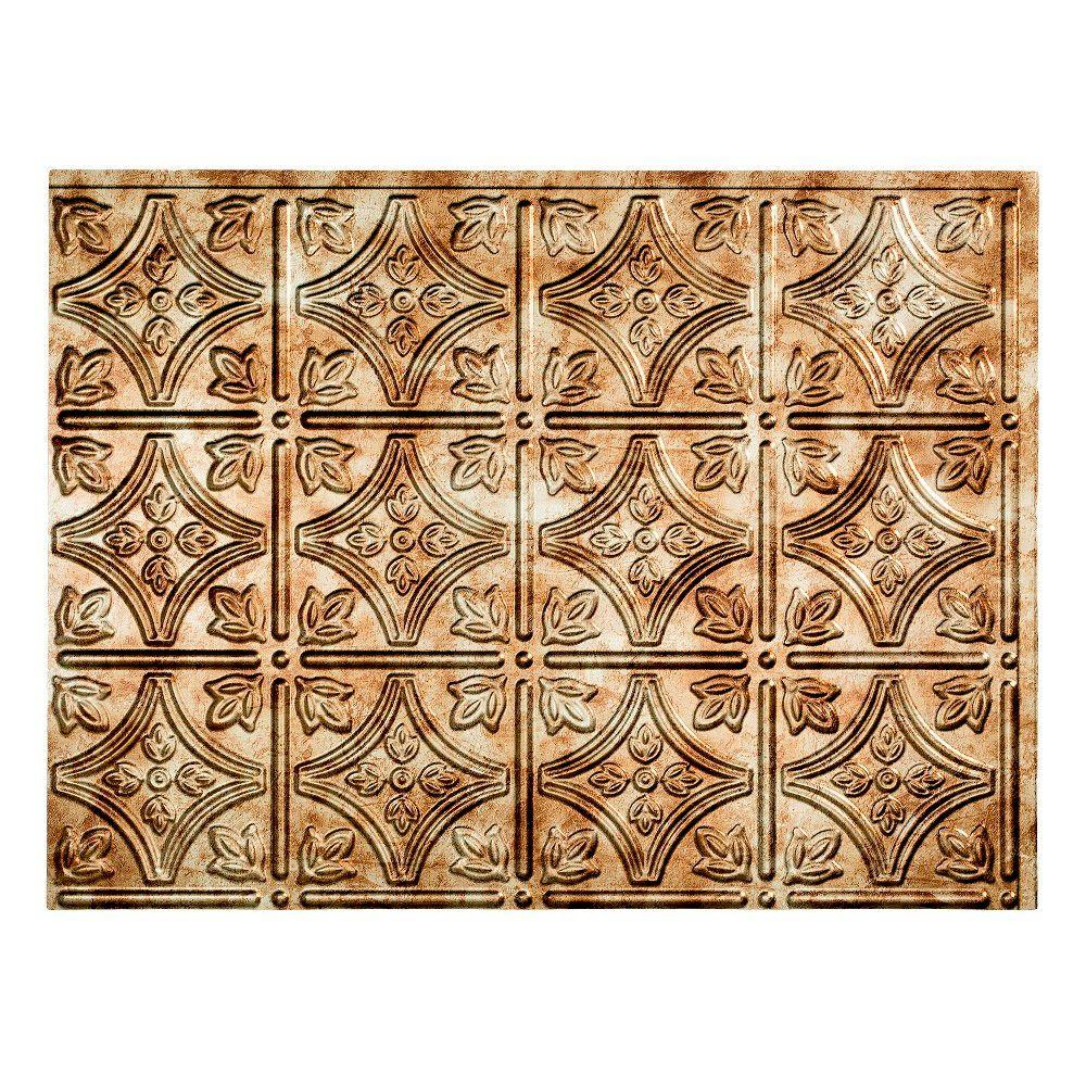 18.25 in. x 24.25 in. Bermuda Bronze Traditional Style # 1 PVC Decorative Backsplash Panel