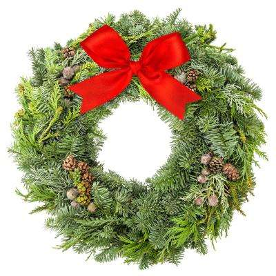 22 in. Fresh Mixed Christmas Wreath with Bright Red Bow and Frosted Pine Cones