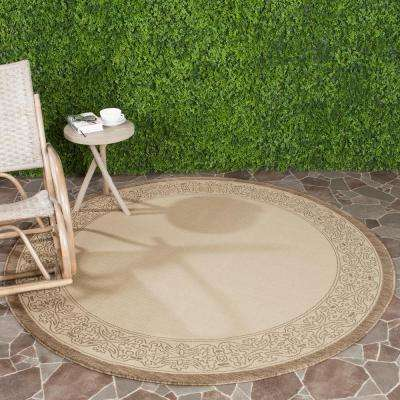 Courtyard Natural/Brown 7 ft. x 7 ft. Indoor/Outdoor Round Area Rug
