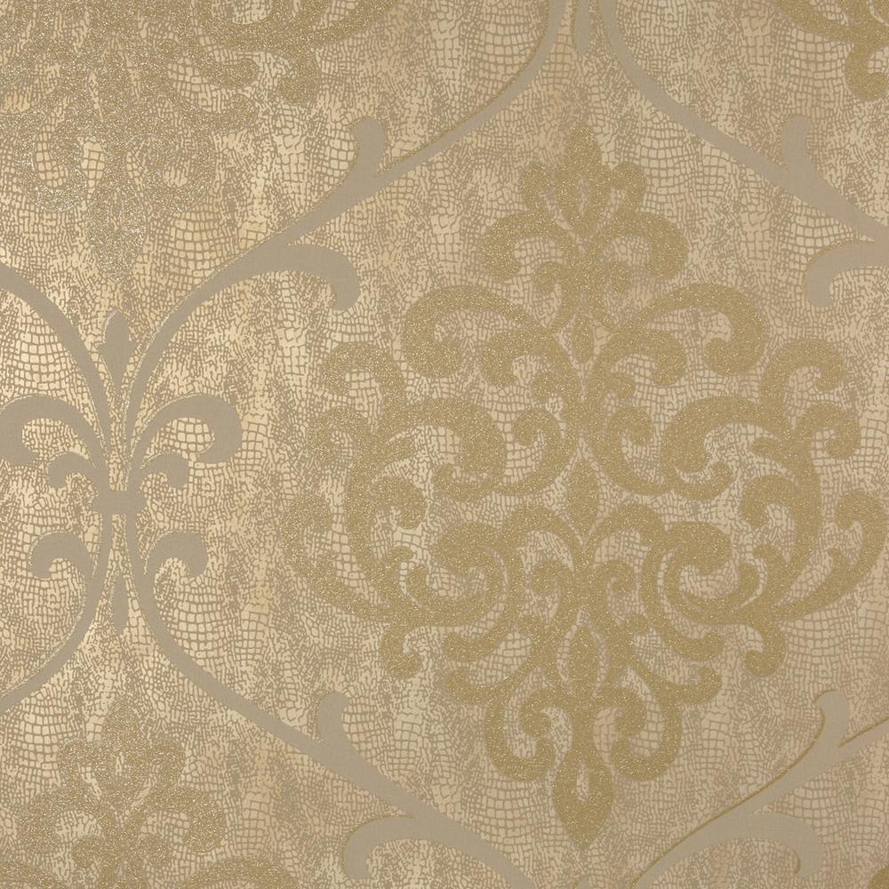 8 in. x 10 in. Ambrosia Brass Glitter Damask Wallpaper Sample