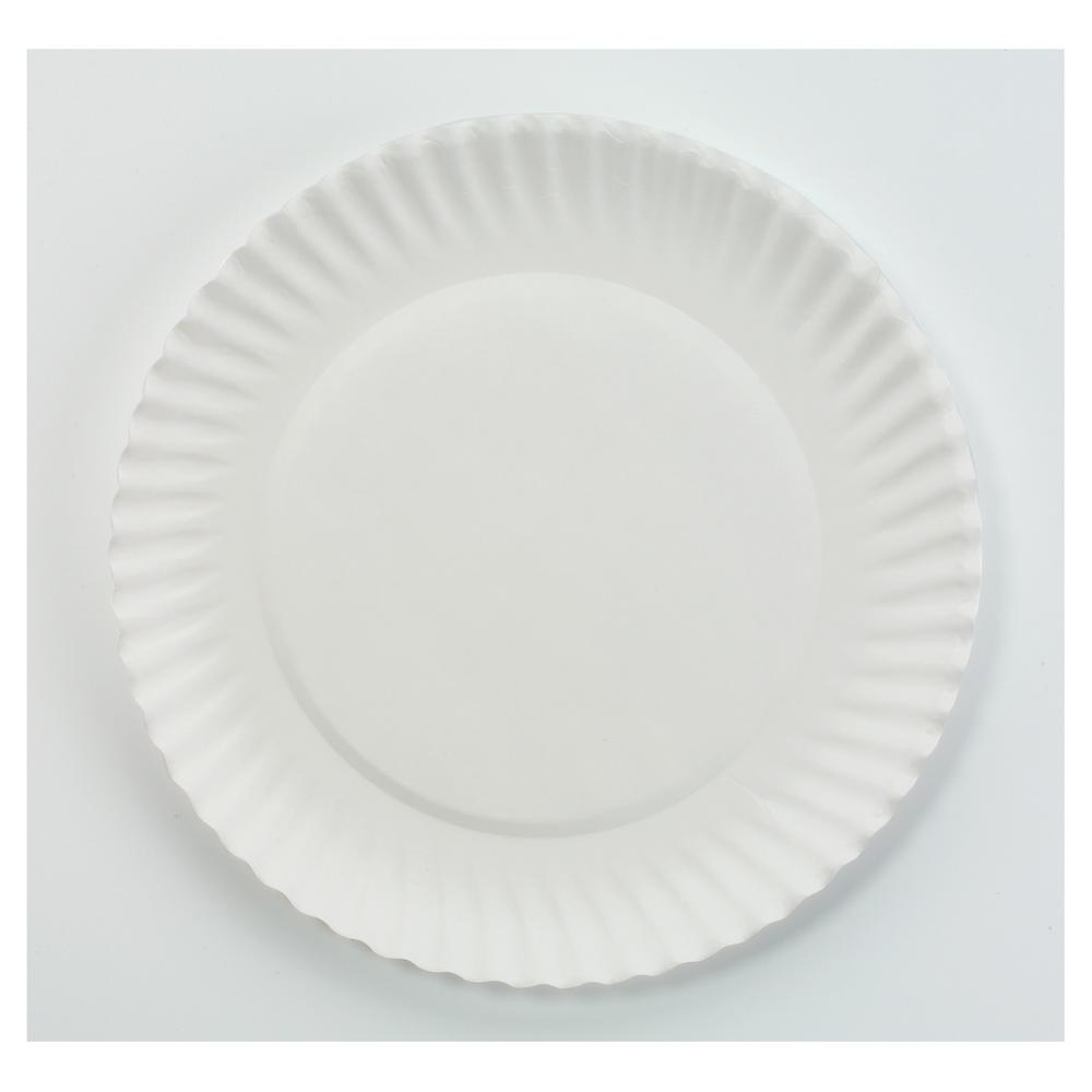 Green Label Green Label 6 in. Uncoated Paper Plates in White (1000 Per Case)