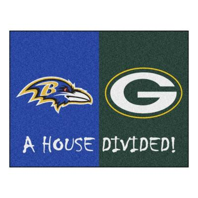 NFL Ravens/Packers Blue House Divided 3 ft. x 4 ft. Area Rug