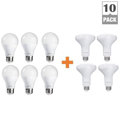 Philips 65-Watt Equivalence Soft White Multi Application BR30 and A19 LED Light Bulb Value (10-Pack)