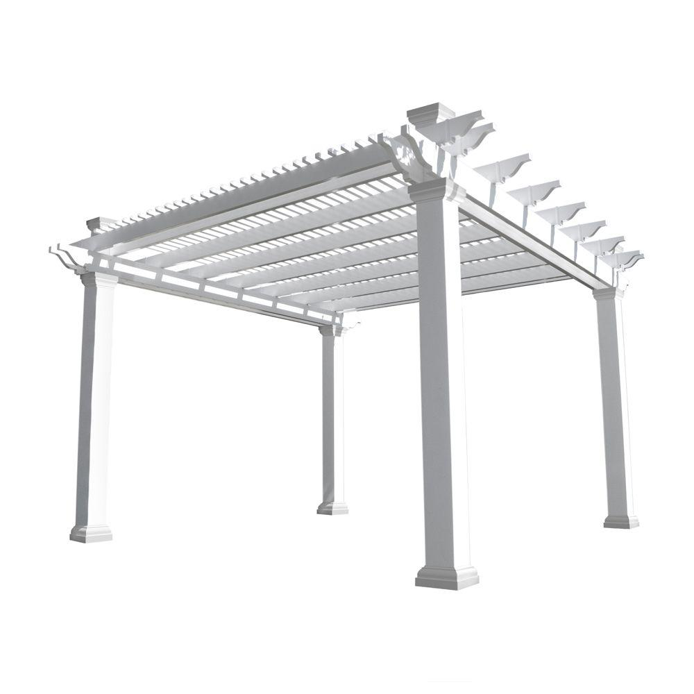 Weatherables Augustine 12 ft. x 12 ft. White Double Beam Vinyl Pergola - Weatherables Augustine 12 Ft. X 12 Ft. White Double Beam Vinyl