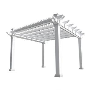 Weatherables Augustine 12 ft. x 12 ft. White Double Beam Vinyl Pergola by Weatherables