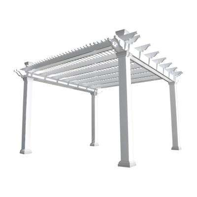 Augustine 14 ft. x 14 ft. White Double Beam Vinyl Pergola