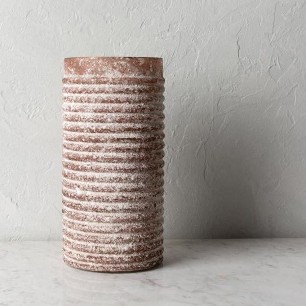 Sinha 12 in. Brown Glass Decorative Hurricane Vase