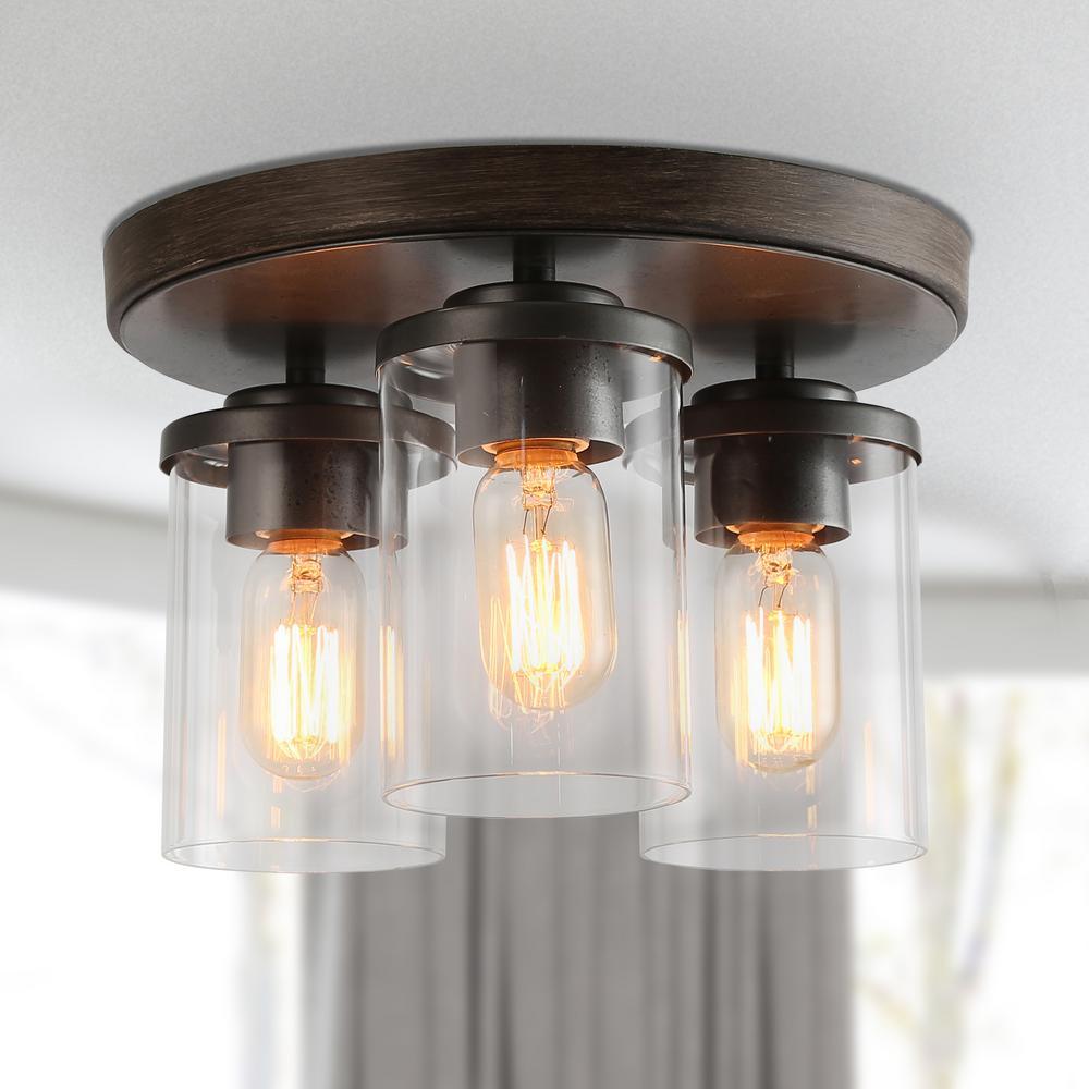 3-Light Clear Glass Pendant Brushed Wood Semi-Flush Wall Mount Light