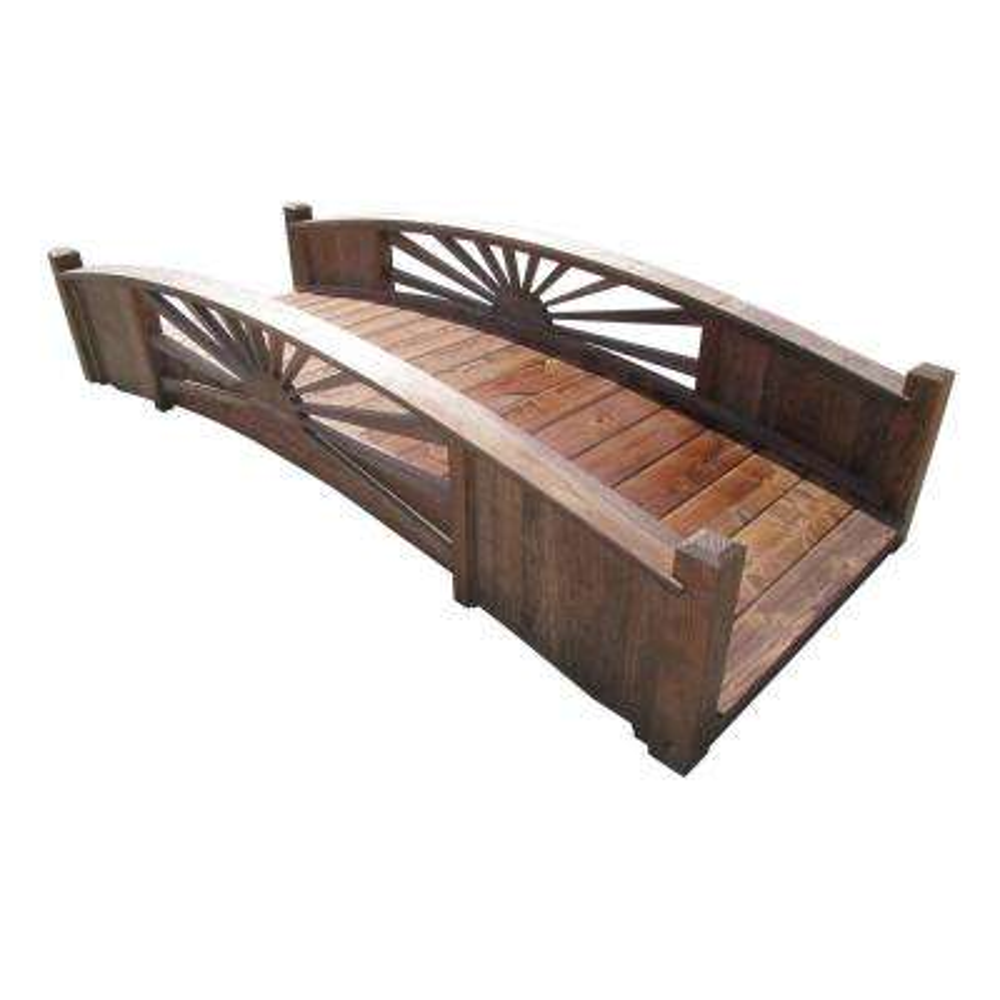 8 ft. Sunburst Wood Garden Bridge Kit