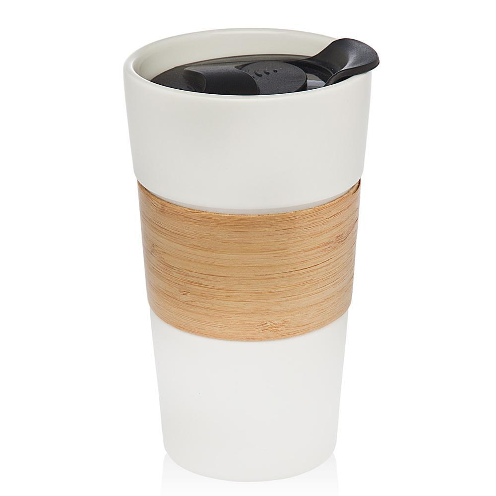 Bamboo Band 12 oz. White Mug with Lid