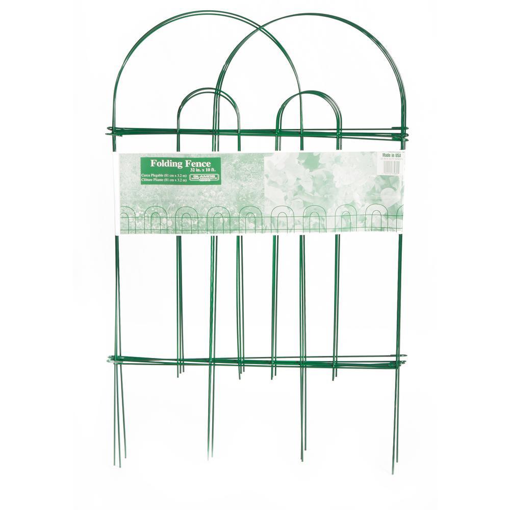 32 in. Green Metal Folding Garden Fence (50-Pack)