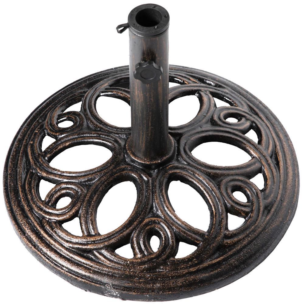 24 lbs. Round Decorative Cast Iron Patio Umbrella Base in Bronze