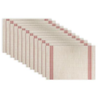 19 in. x 13 in. Red Stripe PVC and Polyester Chambray Reversible Woven Indoor Outdoor Placemats (Set of 12)