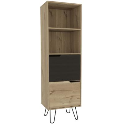 Aster 67 in. Natural Composite Wood Slim Bookcase