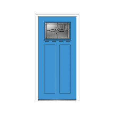 36 in. x 80 in. Lenora Right-Hand 1-Lite Decorative Craftsman Painted Fiberglass Smooth Prehung Front Door w/ Shelf