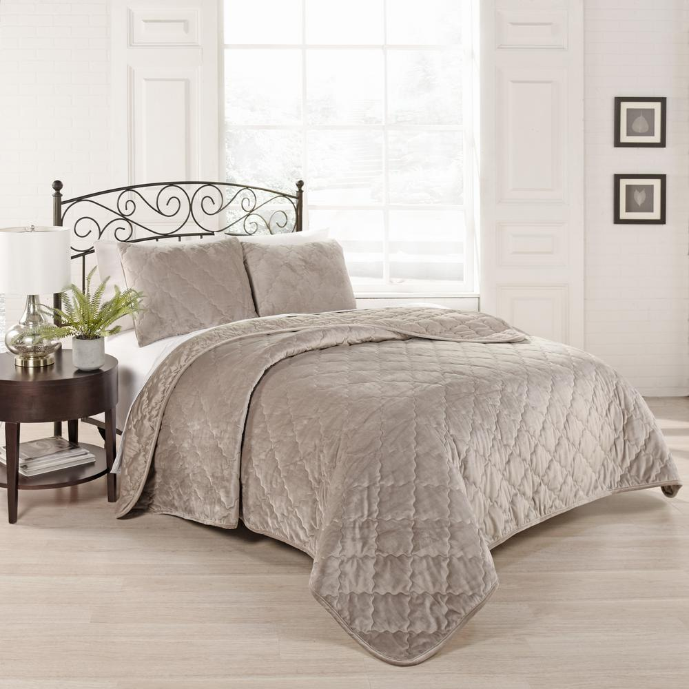 Collette 3-Piece Light Taupe King Coverlet Set