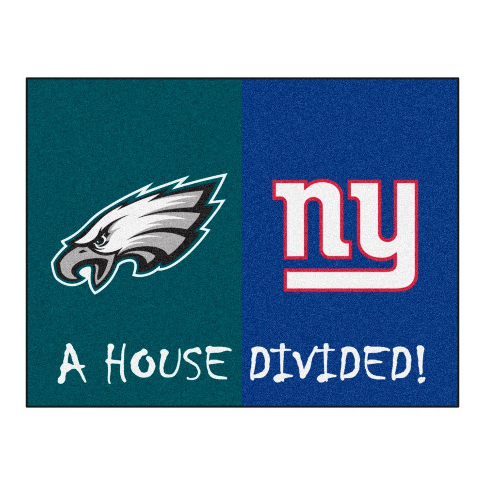 premium selection 7c9e5 03696 NFL Eagles Giants Turquois House Divided 3 ft. x 4 ft. Area Rug