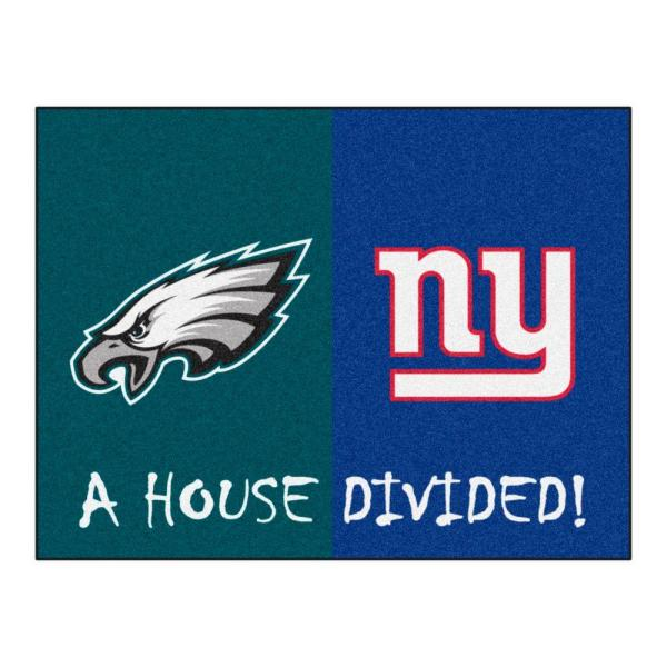 NFL Eagles/Giants Turquois House Divided 3 ft. x 4 ft. Area Rug