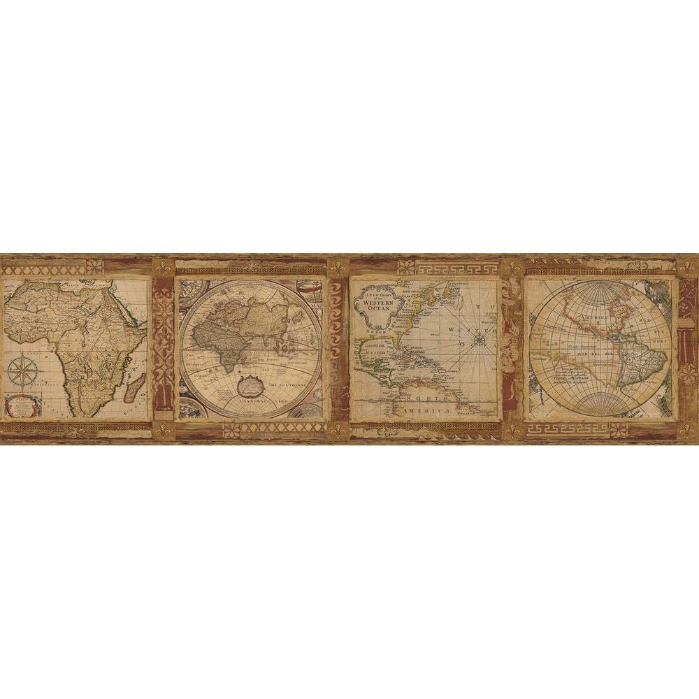 Old world map wallpaper border home garden compare prices at chesapeake oliver map wallpaper border burnt sienna gumiabroncs Image collections