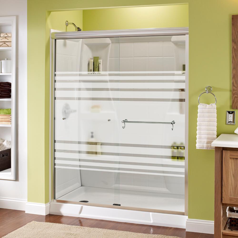 Portman 60 in. x 70 in. Semi-Frameless Sliding Shower Door in Chrome with Transition Glass