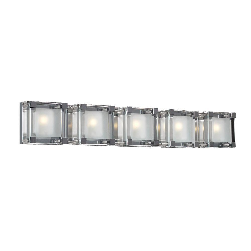 5-Light Polished Chrome Bath Vanity Light with Clear and Frosted Glass