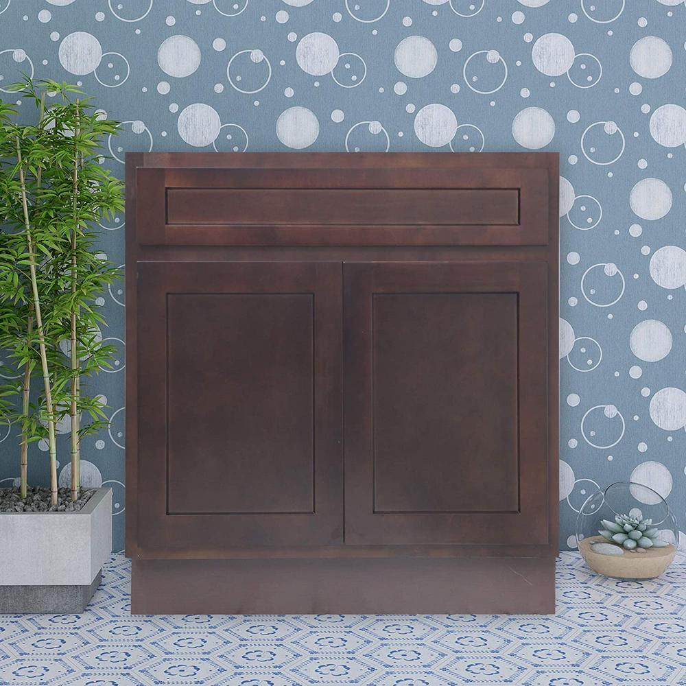 33 in. W x 21 in. D x 32.5 in. H 2-Doors Bath Vanity Cabinet Only in Brown
