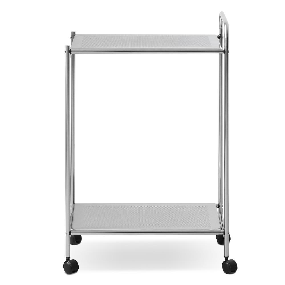 Wayar 2- Shelf Chrome 4-Wheeled Kitchen Cart