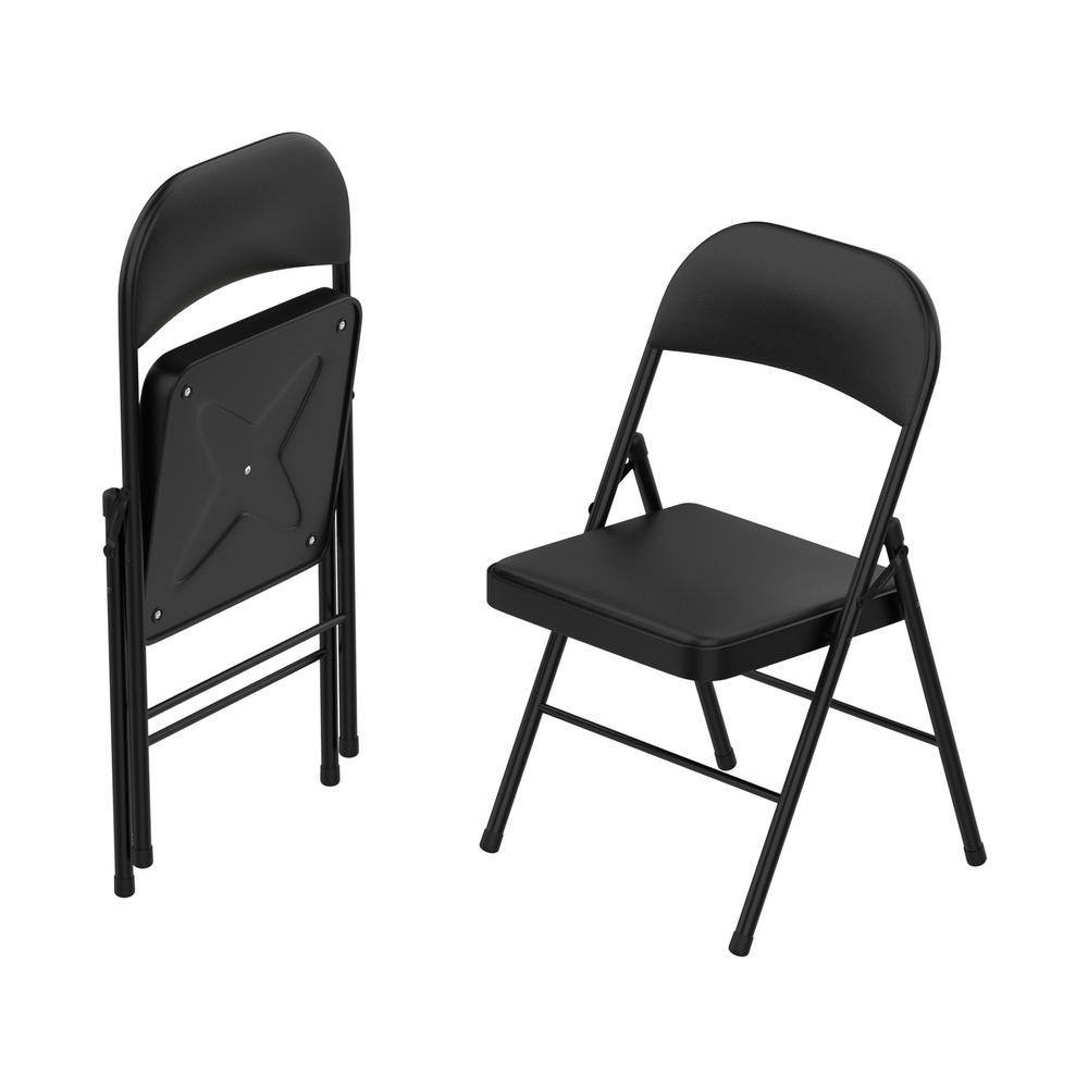 Lavish Home Black Vinyl Cushion Seat Foldable Folding Folding Chair (Set of 2)