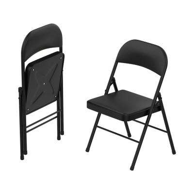 Black Vinyl Cushion Seat Foldable Folding Folding Chair (Set of 2)